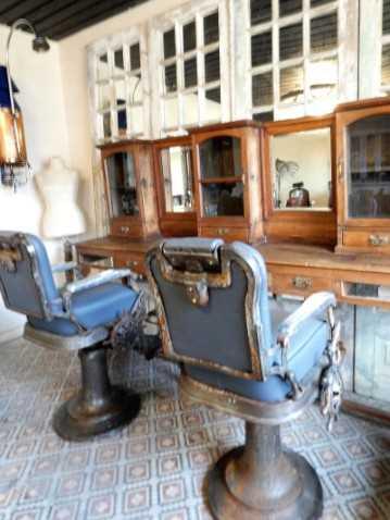 Vintage grauer Barbier-/Friseurstuhl-2