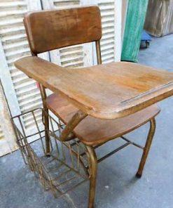 Vintage teakhouten bioscoop bank / stoelen-3