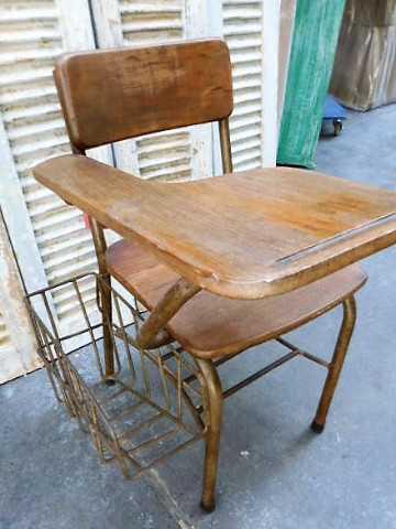Vintage teak cinema bench / chairs-3