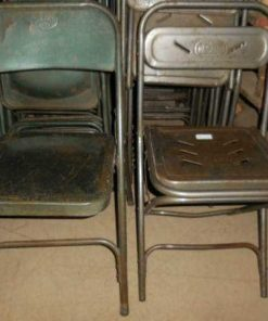 Vintage metal folding chairs-1