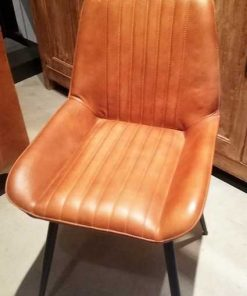 Cognac leather dining chair-2