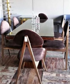 Vintage Brown Velvet Dining Chairs-1