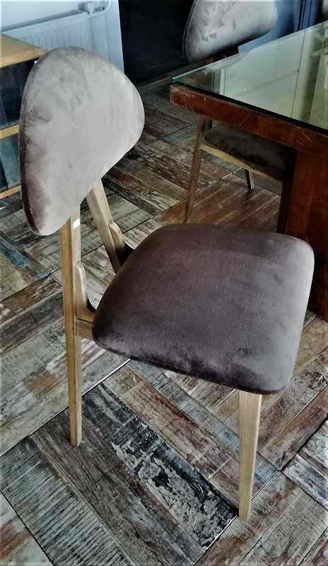 Vintage Brown Velvet Dining Chairs-2