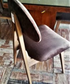 Vintage Brown Velvet Dining Chairs-3