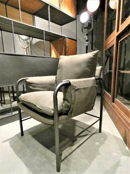 Antique grey velvet armchair-1