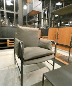 Antique grey velvet armchair-3
