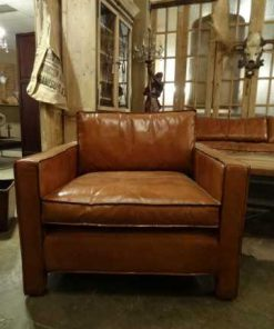 Armchair leather straight model-1