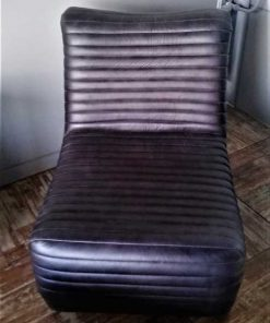 Black / Dark Grey Leather Lounge Armchair-1