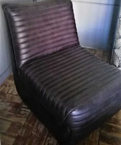 Black / Dark Grey Leather Lounge Armchair-2