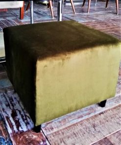 Two Green Velvet Antique Pouffes / Stools-3