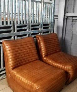 Cognac Leather Lounge Armchair-1
