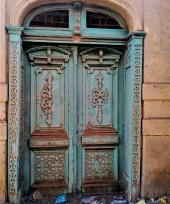 Antique exterior doors in the original turquoise patina-1