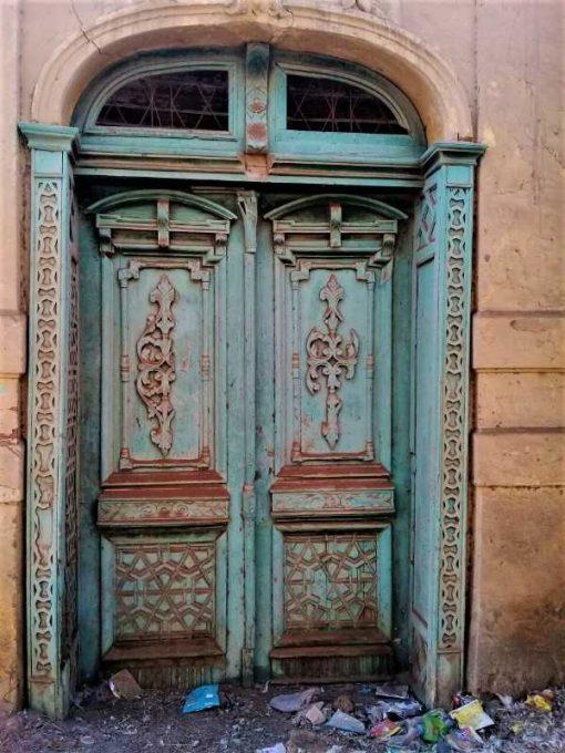 Antique exterior doors in the original turquoise patina-1