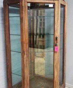 Grote antieke hoek vitrine kast-1