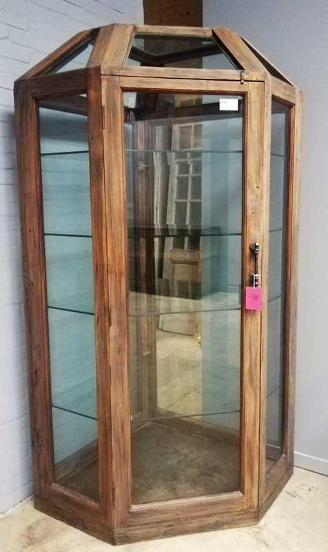 Large antique corner display case-1