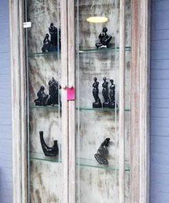 Vintage ondiepe vitrine kast-3