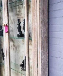 Vintage ondiepe vitrine kast-4