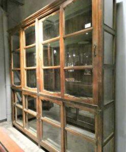 Antieke teakhouten vitrinekast lxdxh 230x40x225 cm-1