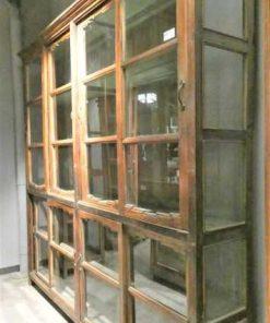 Antieke teakhouten vitrinekast lxdxh 230x40x225 cm-2