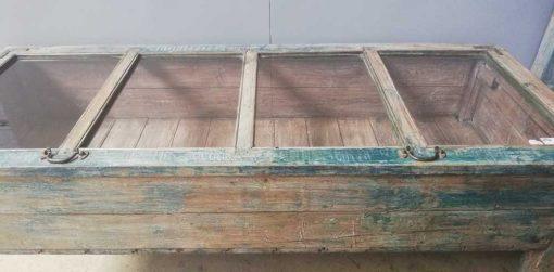 Vintage blau geschliffe Museum Vitrine-3