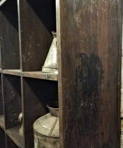 Vintage massief houten kast met open vakken-3