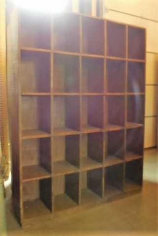 Vintage massief houten kast met open vakken-4