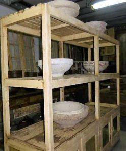 Vintage open wooden cabinet in cream-1