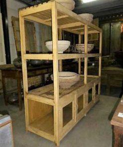 Vintage open wooden cabinet in cream-2