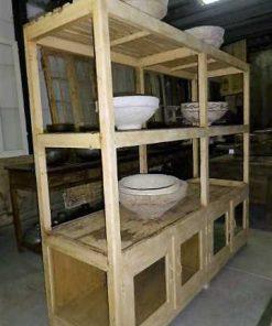 Vintage open wooden cabinet in cream-3