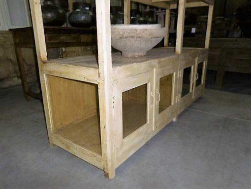 Vintage open wooden cabinet in cream-4