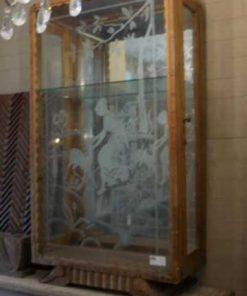 Antiek vitrine kastje met gegraveerd glas-2