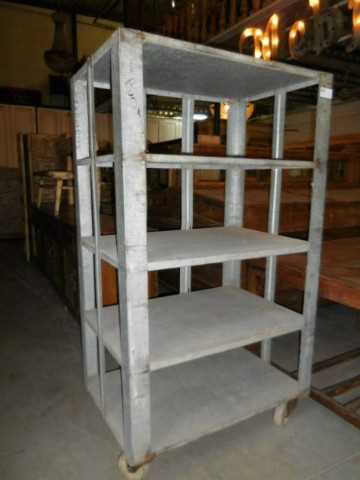Vintage industrial grey metal rack on wheels-1