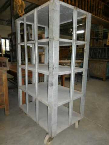 Vintage industrial grey metal rack on wheels-2