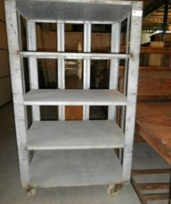 Vintage industrial grey metal rack on wheels-3