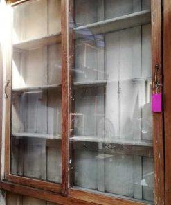 Antieke Vitrine Kast Met Witte Binnenkant-2