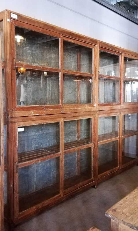 Antique Glass Showcase Cabinet-3