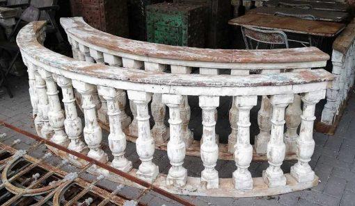 Old half round wooden balustrade-2
