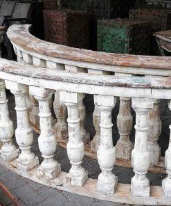 Old half round wooden balustrade-3