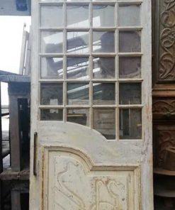 Antieke deur met ruitjes met schuifsysteem hxb 250x93