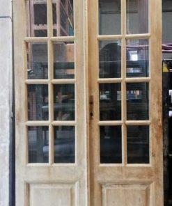 Antieke dubbele paneel deuren met ruitjes hxb 250x110 cm-1