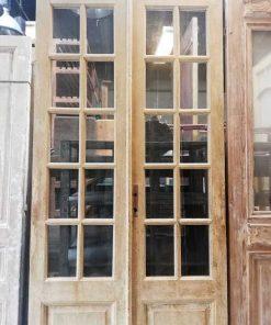 Antieke dubbele paneel deuren met ruitjes hxb 250x110 cm-2