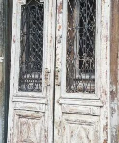 Antique white French outside doors-1