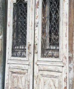 Antike weiße französische Außentüren-1