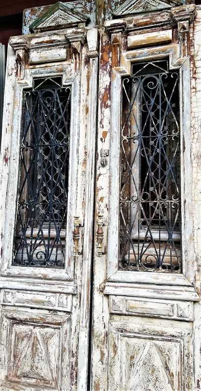 Antique white French outside doors-2