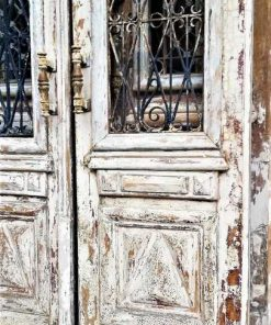 Antique white French outside doors-3