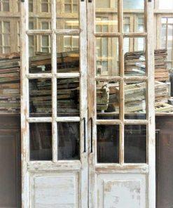 Antieke dubbele deuren met ruitjes met rolschuifsysteem-1