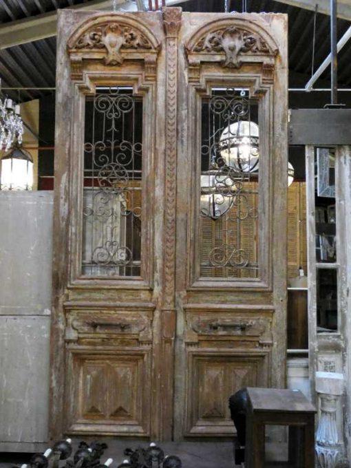 Antieke Franse deuren met smeedijzeren sier hekwerk 330x182 cm-4