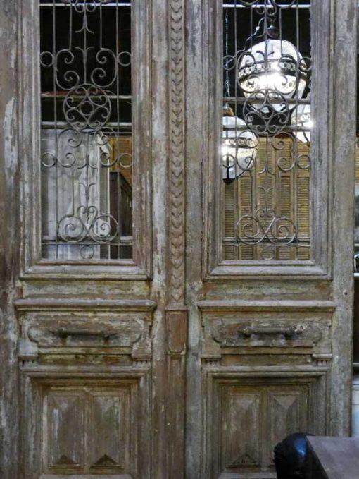 Antieke Franse deuren met smeedijzeren sier hekwerk 330x182 cm-5