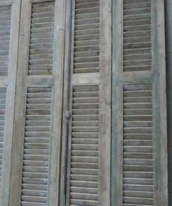 Antique grey set of louvre shutters / doors-2