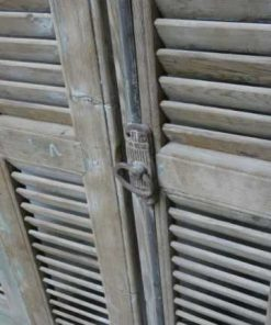 Antique grey set of louvre shutters / doors-3